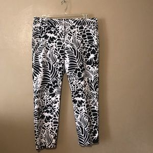 Talbots black and white patterned  pants size 16